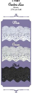 Click Here To View Flat Cambric Lace - 30mm